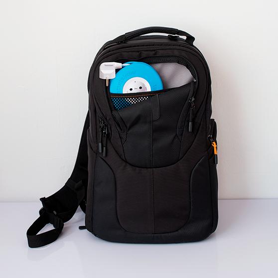 Roller azul extensao enrolada na bolsa